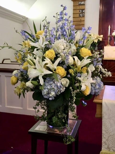Tall Glass Vase Arrangement Verdant Floral Studio
